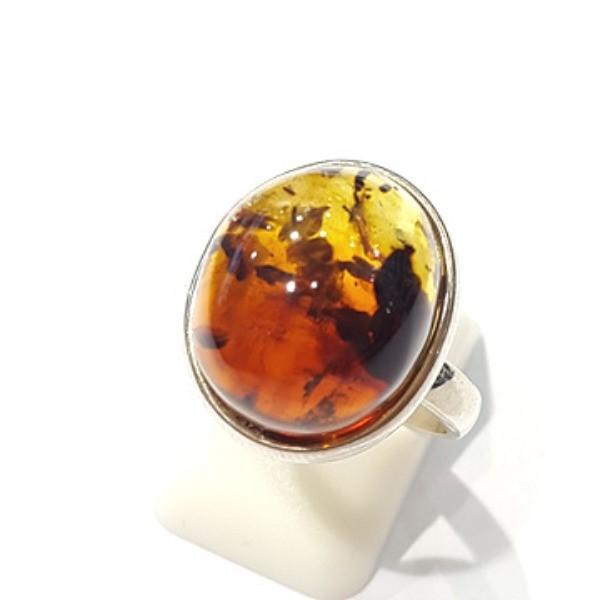 [블루케이] 호박 원석 반지 n191015-10