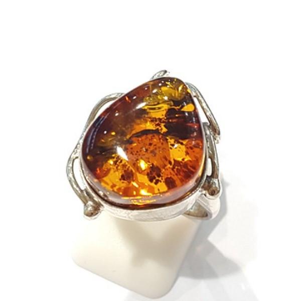 [블루케이] 호박 원석 반지 n191015-11