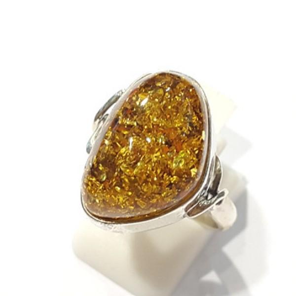 [블루케이] 호박 원석 반지 n191015-12