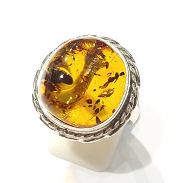 [블루케이] 호박 원석 반지 n191015-16