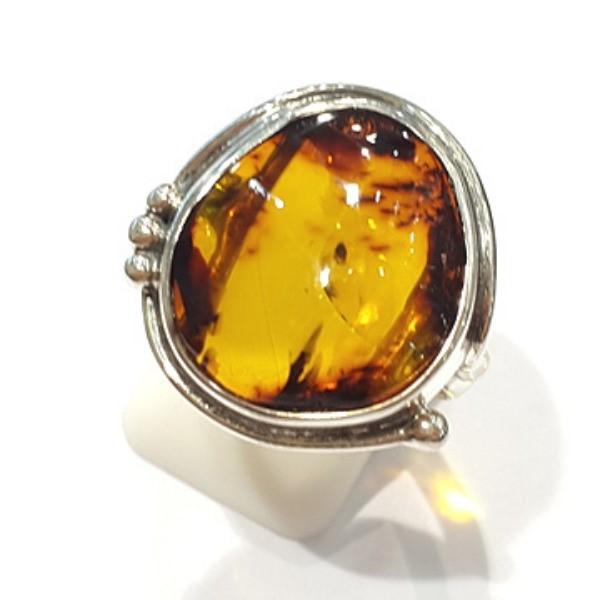 [블루케이] 호박 원석 반지 n191015-18