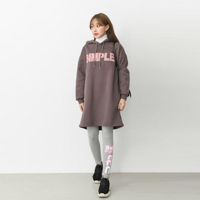 [겟잇미] 레터링 루즈핏 박스 후드 원피스 (3color)