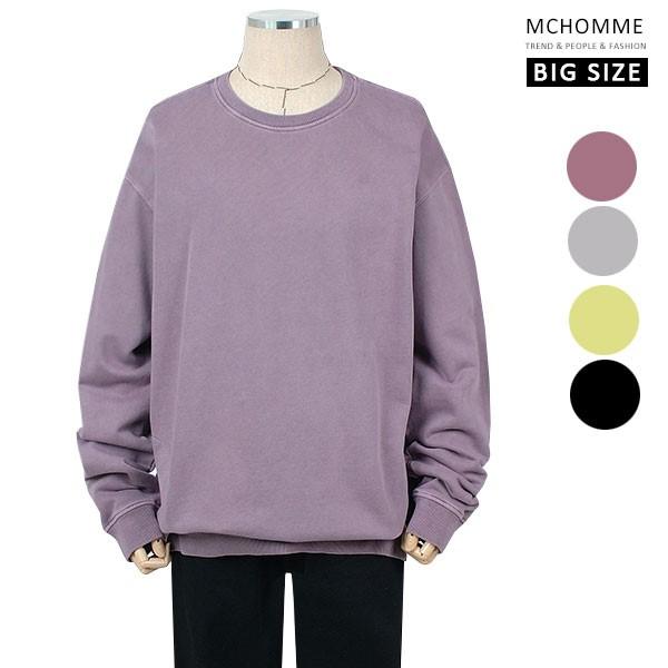 엠씨옴므 빅사이즈(~3XL) 지퍼 포켓 데일리룩 민무늬 맨투맨 티셔츠 BS19S104_PU