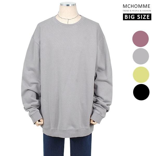 엠씨옴므 빅사이즈(~3XL) 지퍼 포켓 데일리룩 민무늬 맨투맨 티셔츠 BS19S104_G
