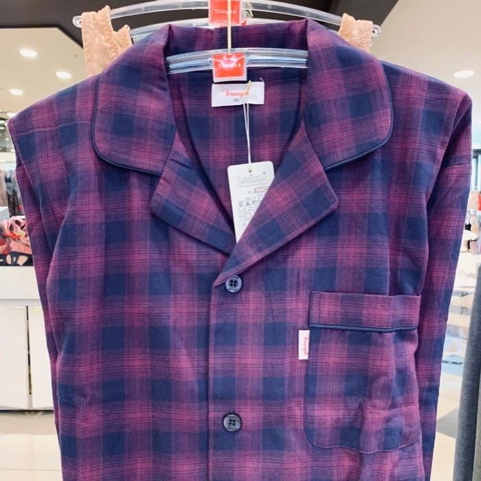 트라이엄프 NC05 퍼플 체크 면기모 남성잠옷 TMJ7014