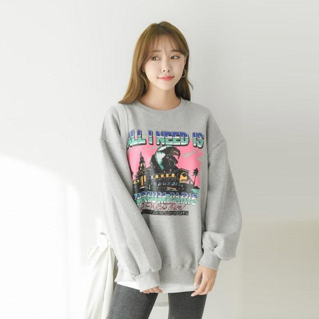 [겟잇미] 프린팅 박스 기모 맨투맨 티셔츠