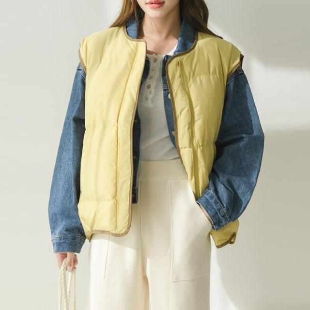 [겟잇미] 라인배색 조끼 패딩 베스트 자켓 (5color)