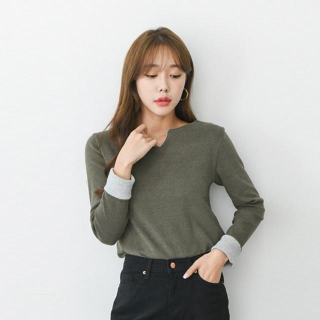[겟잇미] 브이트임 소매배색 슬림 티셔츠 (6color)