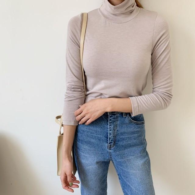 [겟잇미] 기모 하이넥 스판 쫀쫀 폴라 티셔츠