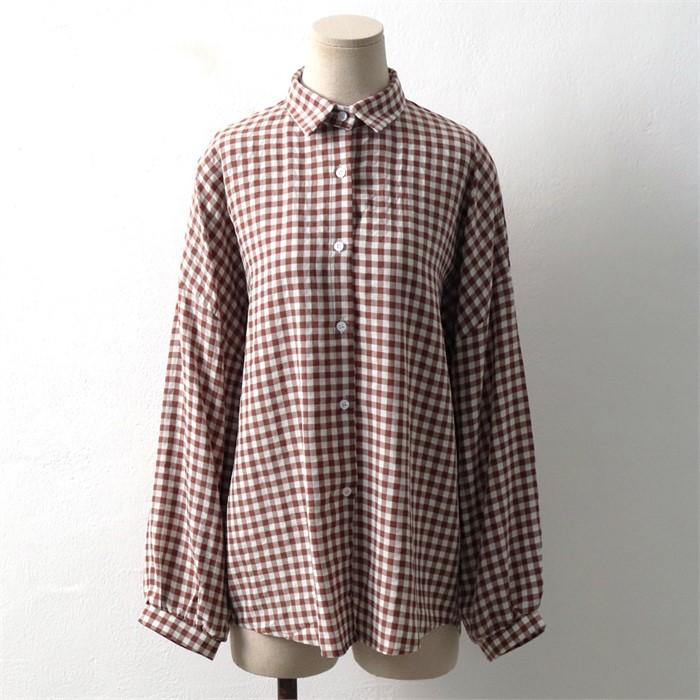 [SidMarket] 가을 루즈핏 체크 남방 셔츠 19A111B 빅사이즈 여성