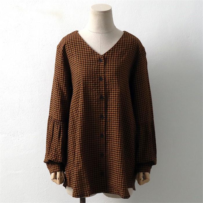 [SidMarket] 가을 브이넥 체크 남방 셔츠 19A111C 빅사이즈 여성