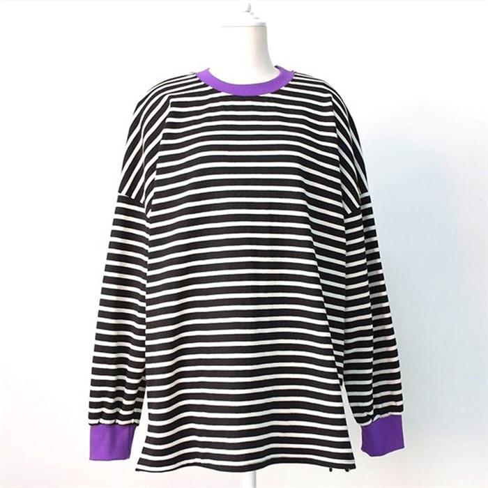 [SidMarket] 컬러 배색 스트라이프 티셔츠 19A114A 빅사이즈 여성