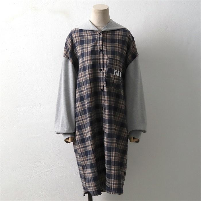[SidMarket] 체크 배색 후드 롱원피스 셔츠 19A116C 빅사이즈 여성