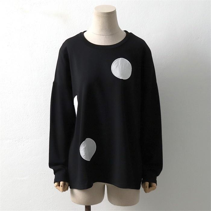 [SidMarket] 가을 도트 라운드 무지 티셔츠 19A116G 빅사이즈 여성