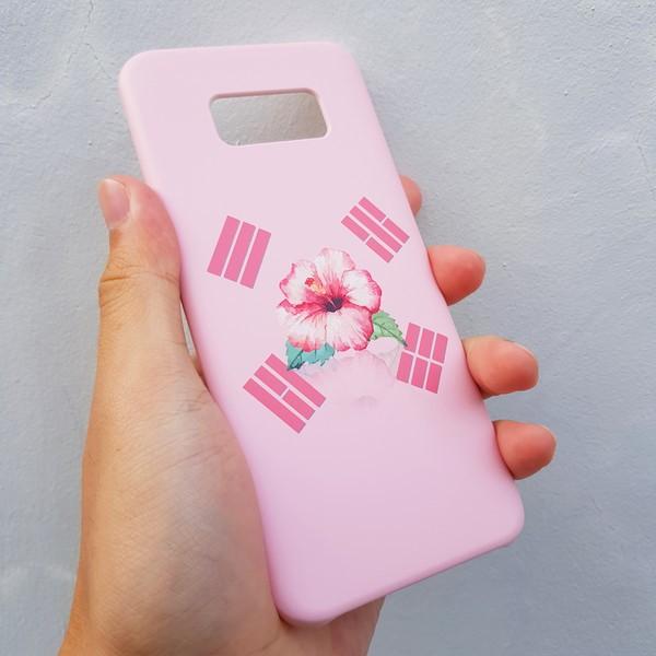 [유광] 무궁화 태극기 핑크 스마트폰 케이스