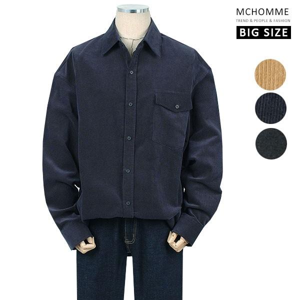 엠씨옴므 빅사이즈(~3XL) 골덴 코듀로이 모던한 민무늬 남방 셔츠 MO19S105_NV