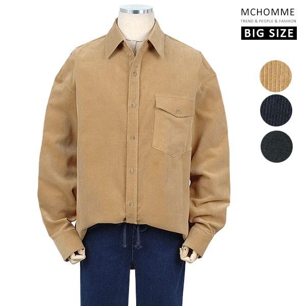 엠씨옴므 빅사이즈(~3XL) 골덴 코듀로이 모던한 민무늬 남방 셔츠 MO19S105_BE