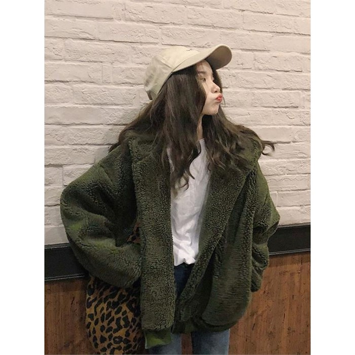 [일루아] (빠른발송)양털 후디 자켓(카키/블루)