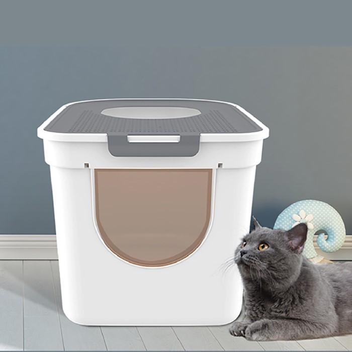 [이에스샵] 대형 고양이 화장실 후드형 모래발판 스쿱 포함 사막화방지