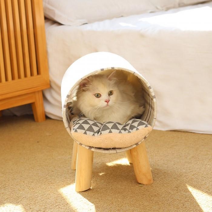 [펫블라썸] 고양이 집 숨숨 용품 방석 장난감 쿠션 체크 터널 하우스