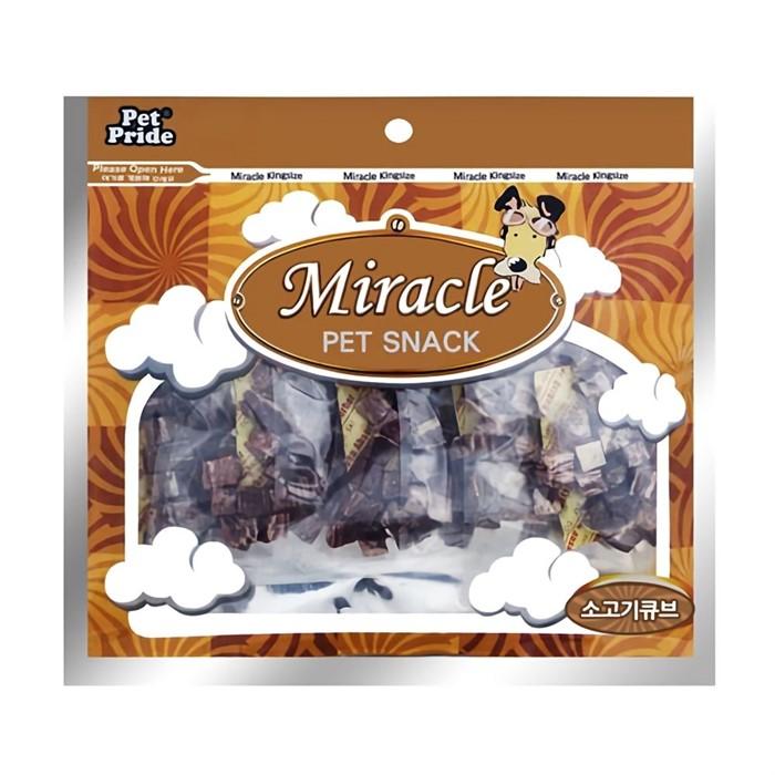 미라클 강아지 애견 개 간식 소고기 큐브 250g