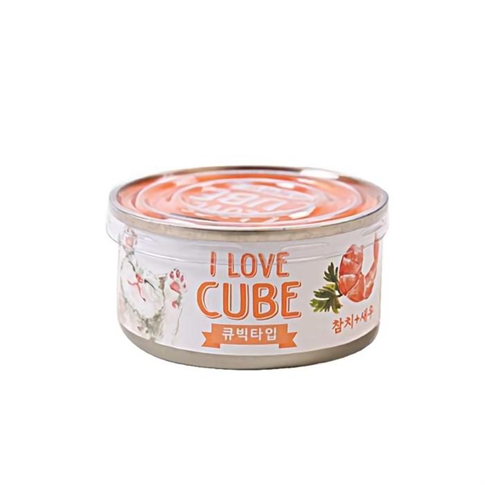 고양이 캣 영양 간식 참치 새우 큐브 캔 80g