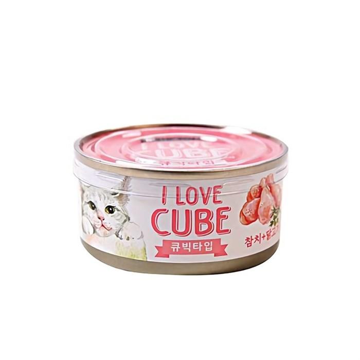 고양이 캣 영양 간식 참치 닭고기 큐브 캔 80g