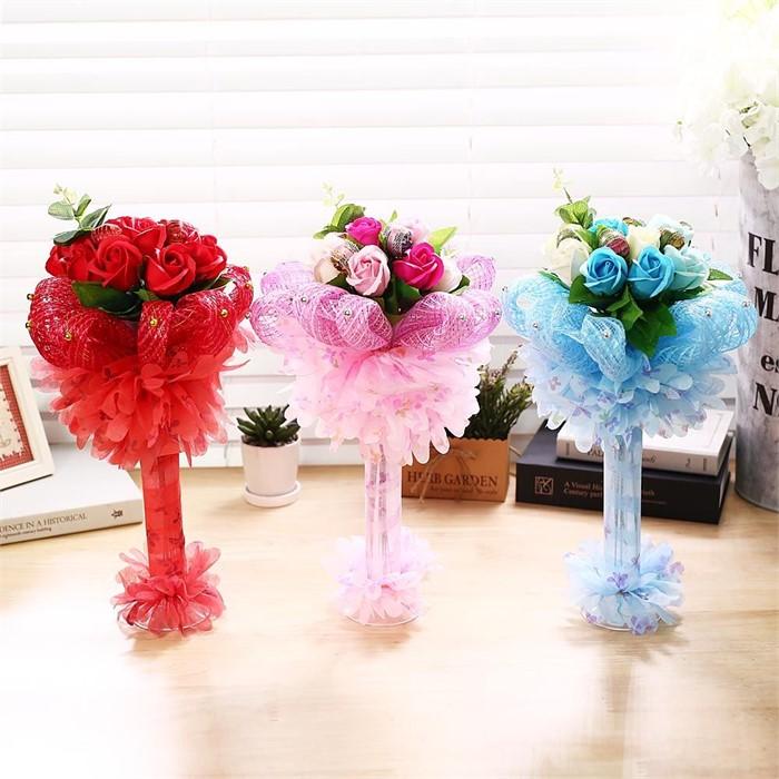 퐁퐁 비누꽃 사탕부케(블루) 졸업식 재롱잔치 꽃다발