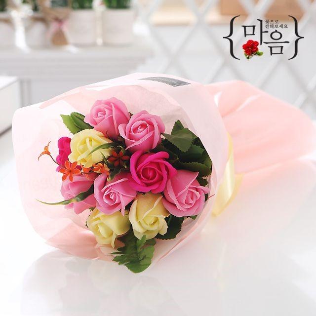 장미 10송이 꽃다발(핑크) 비누꽃 졸업식 재롱잔치