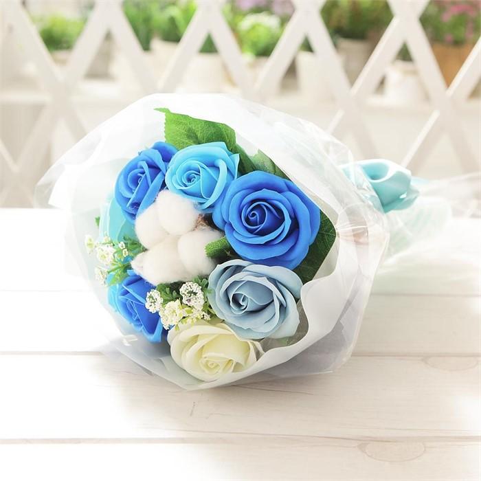 코튼 로즈 꽃다발(블루) 비누꽃 졸업식 재롱잔치