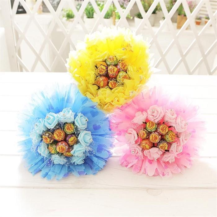 모니카사탕부케(블루) 비누꽃 졸업식 재롱잔치 꽃다발