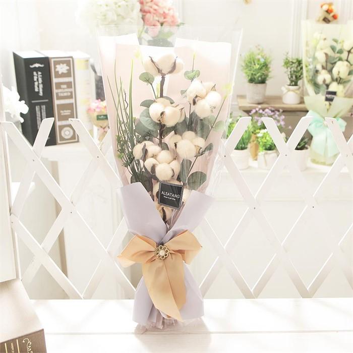 코튼플라워(살구) 비누꽃 졸업식 재롱잔치 꽃다발