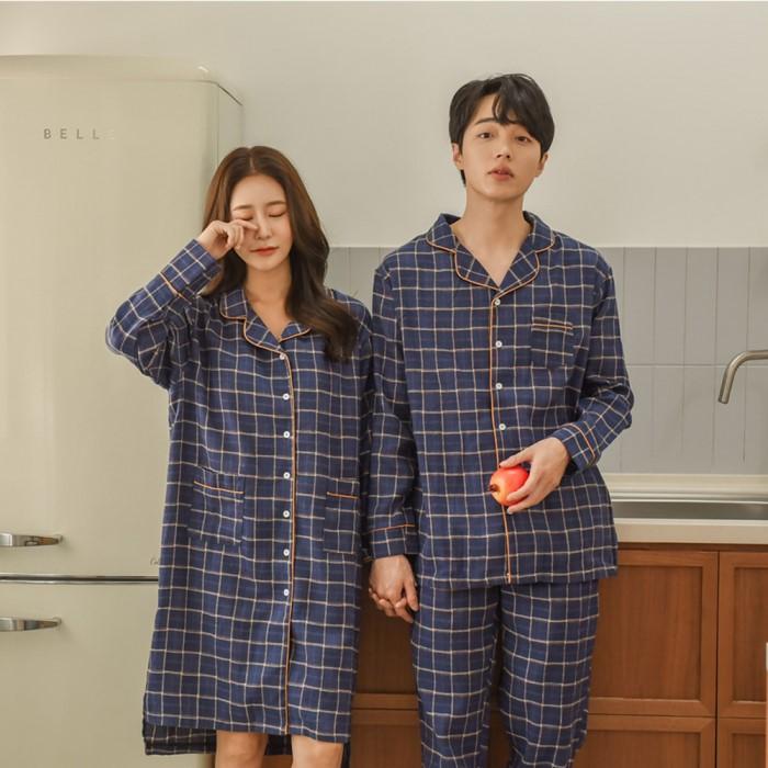 [김양리빙] 스텐다드 기모 커플 파자마세트 홈웨어 원피스잠옷