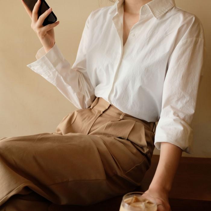 [에이페럴]  코튼 기본 셔츠 2color