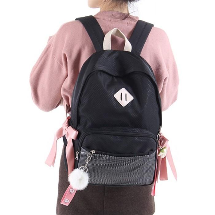 예쁜 USB 충전 가방 학생용 책가방 블랙 패션 백팩