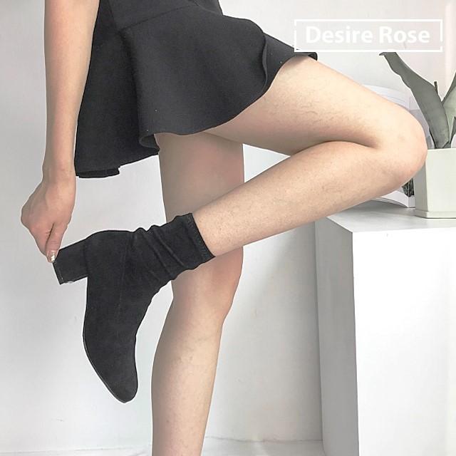[디자이어로즈] 여자 스웨이드스판부츠 블랙 미들굽부츠 6cm KRB0118