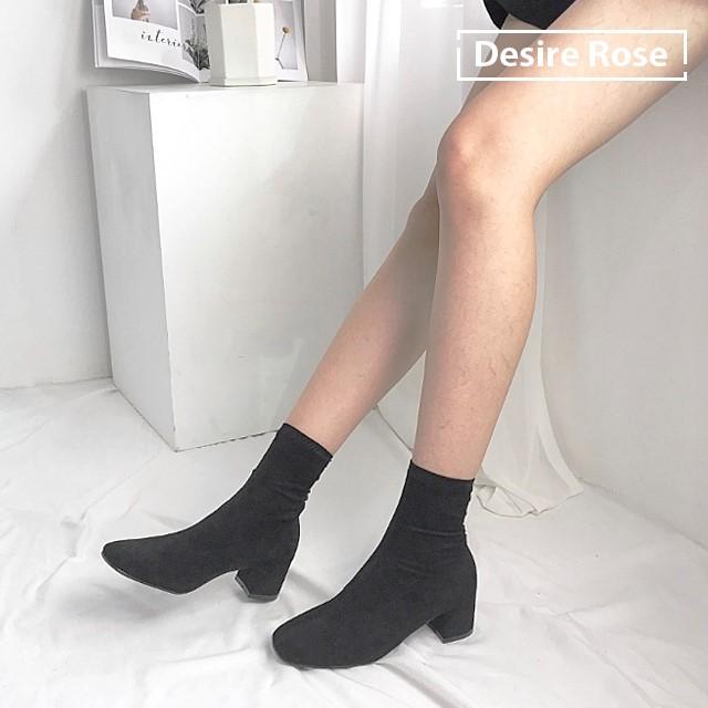 [디자이어로즈] 여성 가을부츠 미들굽부츠 스판삭스부츠 6cm KRB0118