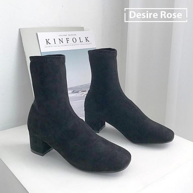 [디자이어로즈] 여성 가을부츠 블랙 스판삭스부츠 6cm KRB0118