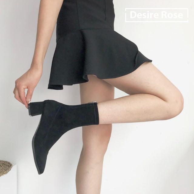 [디자이어로즈] 여성 가을부츠 백지퍼 스판삭스부츠 5.5cm KRB0117
