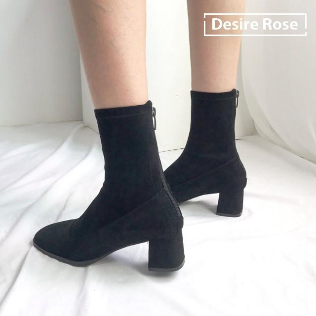 [디자이어로즈] 여성 가을 스웨이드 스판 미들굽부츠 5.5cm KRB0117
