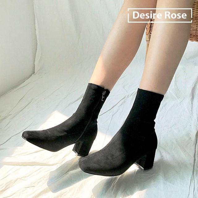 [디자이어로즈] 여성 블랙 스웨이드 스판 삭스부츠 6cm KRB0119