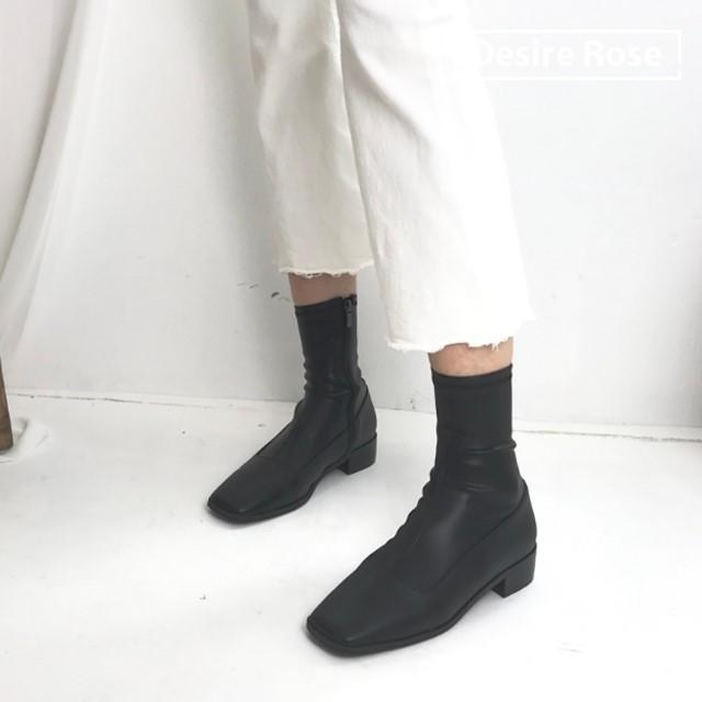 [디자이어로즈] 여성 가죽부츠 블랙 가을 미들부츠 1.5cm KRB0120