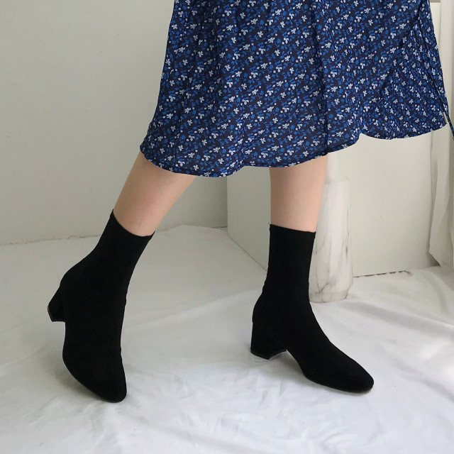 [디자이어로즈] 여성부츠 스웨이드스판 삭스부츠 7.5cm KRB0129