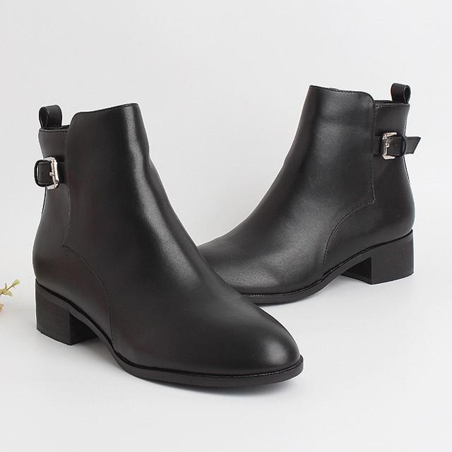 [디자이어로즈] 여성부츠 기모안감 가죽 앵클부츠 미들굽 4.5cm WS4302