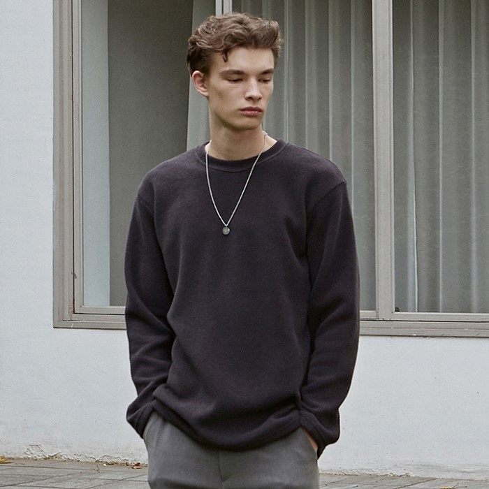 [DEANS] SOFT R LONG TEE_CHARCOAL