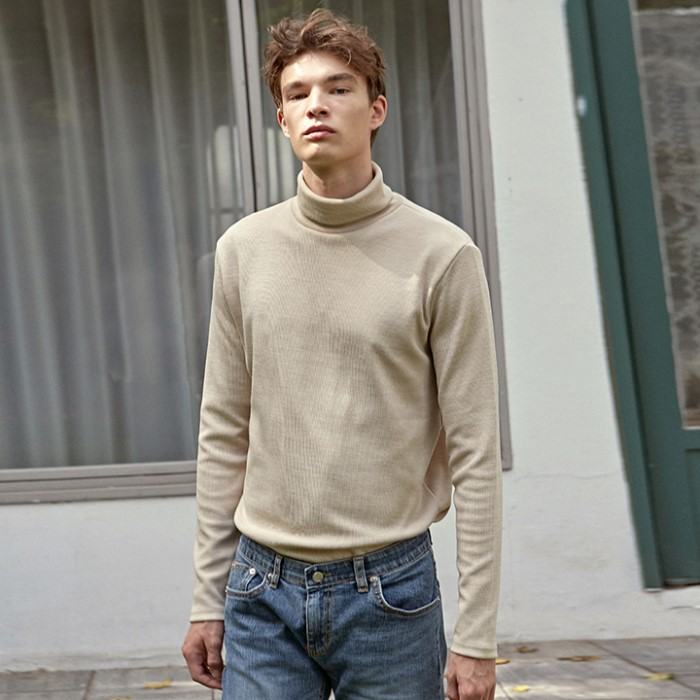 [DEANS] STAND TURTLE LONG TEE_LIGHT BEIGE