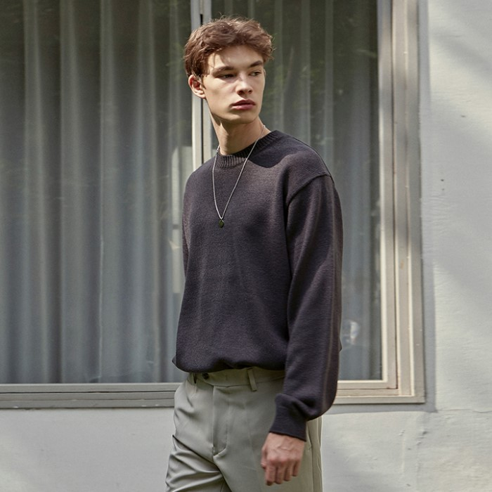 [DEANS] PREMIUM WOOL SWEATER_CHARCOAL