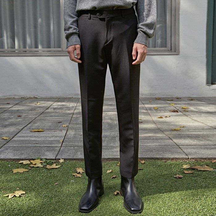 [DEANS] DUAL SLIM STRAIGHT SLACKS_BLACK