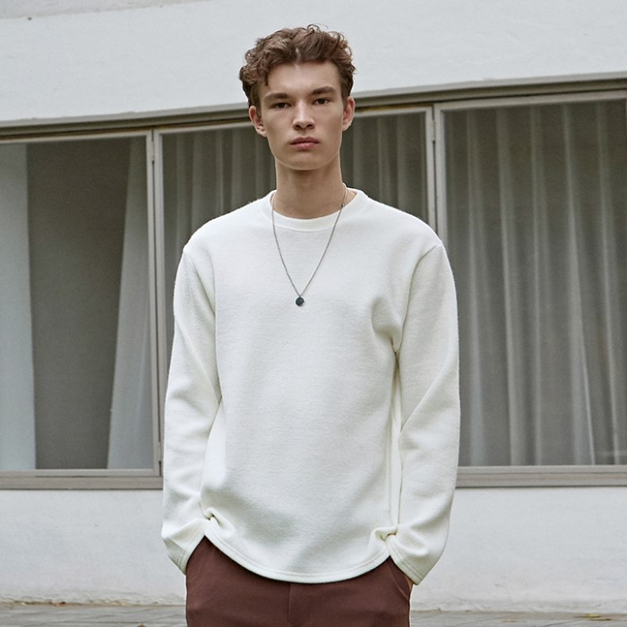 [DEANS] SOFT R LONG TEE_IVORY