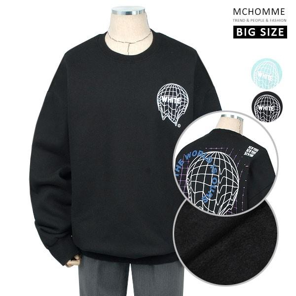 엠씨옴므 빅사이즈(~4XL) 어스그래픽 덤블워싱 기모 맨투맨 티셔츠 SH19S119_B